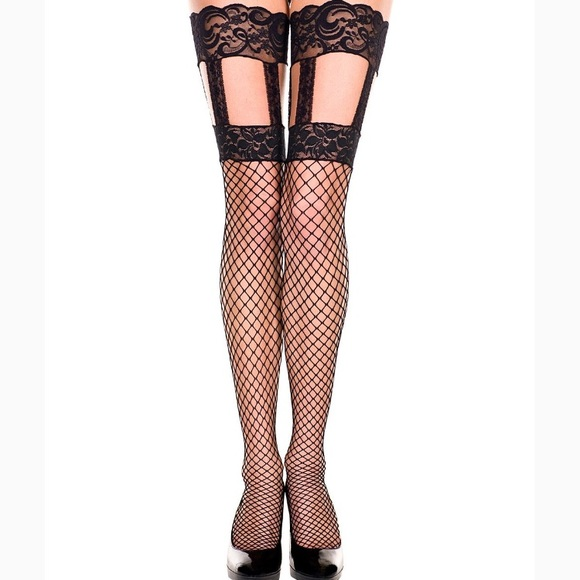 c5d715812d Accessories | Thigh High Fishnet Stockings With Lace Suspenders ...